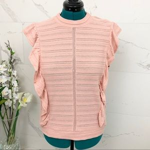 Jessica Simpson Top Flutter Sleeves Pink XL NWT